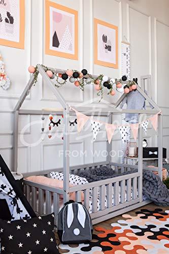 cama montessori infantil casita. Color gris (190x90cm) (Producto para bebé)