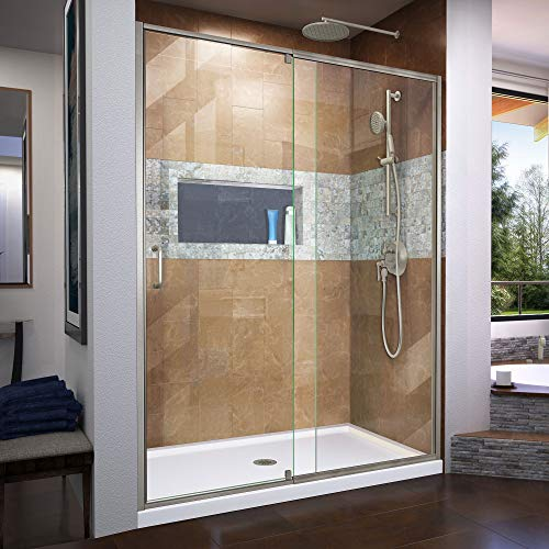 DreamLine Flex 56-60 in. W x 72 in. H Semi-Frameless Pivot Shower Door in Brushed Nickel, SHDR-2260720-04