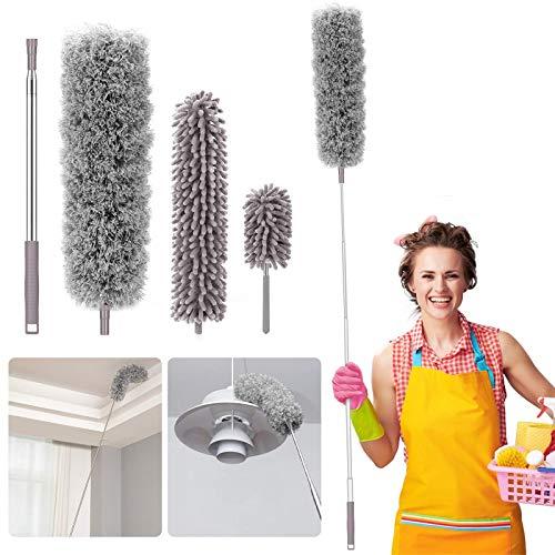 Plumero de microfibra para el hogar, Homga Kit de limpieza de plumero de microfibra con barra de extensión telescópica de 98.4in, plumeros reutilizables doblables, lavables, ligeros plumeros para limpiar telarañas de techo y ventiladores