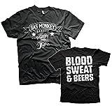 Gas Monkey Garage GMG - Camiseta de sangre, sudor y cervezas, color negro