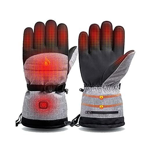 Ajuste de temperatura de tres velocidades Guantes Térmicos con Recargable Tipo,Batería de litio 5000mAh Electrónicos Invierno Térmicos Guantes ,Guantes Moto Invierno Térmicos de Artritis. (negro)