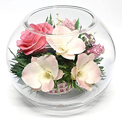 FIORA FLOWER | Long Lasting Real Roses and Orchids | Lasts up to 5 Years | Anniversary Floral Arrangement | Unique Present Gift (Round vase) from Fiora Flower