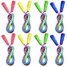 HomKit 8 Pack Rainbow Jump Rope Set - Vibrant Jumping Ropes for Kids, Adjustable Skipping Rope for Outdoor Activity, Party Favor, Exercise Activity