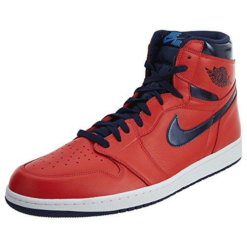 Nike Herren Air Jordan 1 Retro High OG Basketballschuhe, Rot (Lt Crmsn/Mid NVY-Unvrsty Bl-wh), 48.5 EU