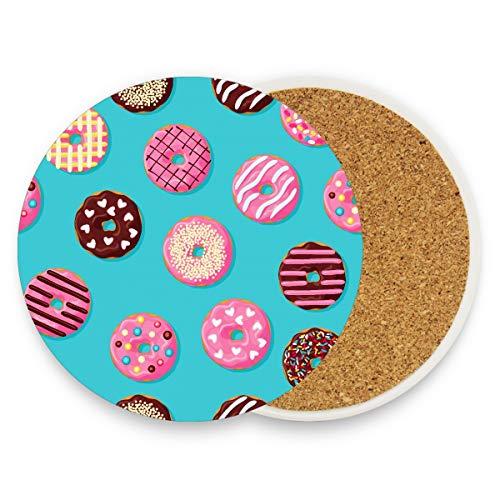 Dulce Yummy Postre de chocolate Donut de azúcar Posavasos de bebida moderna Posavasos de taza con piedra de cerámica y base de corcho para tipos de tazas y tazas
