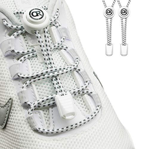 ONLY RUN Elastische Schnürsenkel ohne Binden mit Schnellverschluss perfektes Schnellschnürsystem für Kinder und Erwachsene - Schuhbänder - Gummischnürsenkel ohne Binden (1 Paar refl. weiß)