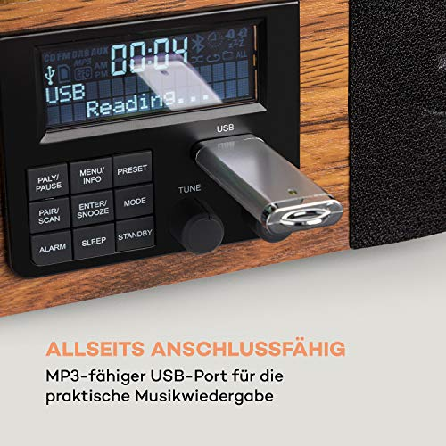 auna Verticalo SE DAB Retro-Plattenspieler, vertikaler Plattenteller, DAB+ Radiotuner, UKW-Tuner, Stereo-Lautsprecher, MP3-fähiger USB-Port, Bluetooth, AUX-Eingang, LCD-Display, Kopfhörer-Ausgang