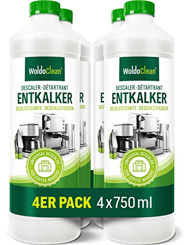 Descalcificador para cafeteras automáticas y máquinas de café, 4 x 750 ml, compatible con todos los dispositivos y fabricantes.