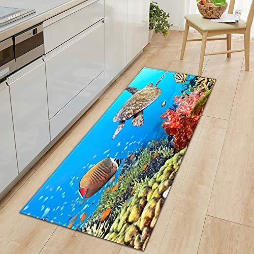 OPLJ 3D Underwater World Küchenmatte Eingang Fußmatte Schlafzimmer Bodendekoration Wohnzimmer Teppich rutschfeste Fußmatte A19 60x180cm