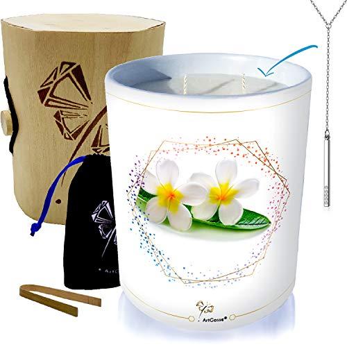 Vela con joya decorada con cristales de Swarovski® • Aroma monoï de Tahití • Colgante (collar Perfett Barre)
