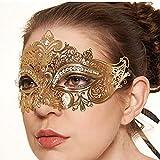 Campsis Shiny Crystal Masquerade Mask Rhinestone Eyemask Luxury Venetian Party Prom Ball Elegant Jewelry for Women and Girls (Gold)