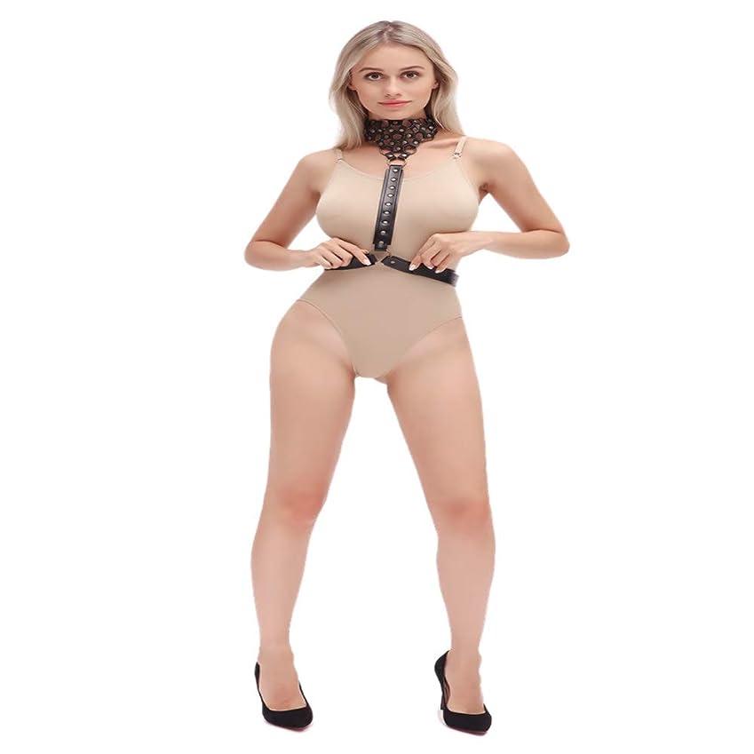 レーザ本当に受益者Zytyue 女性のパンクウエストハーネスベルトレザーメタルボディチェーンクロップボトムの後ろバインディングと手錠セットマッサージャー Friction attrition