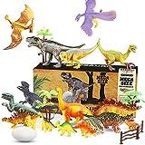 WOSTOO Juego de Dinosaurios, Dinosaurios Juguetes17 Piezas Juguete Dinosaurio & 1 Piezas Huevos de Dinosaurio con 5 Plantas Figura de Dinosaurio Regalo para Chicos Niños