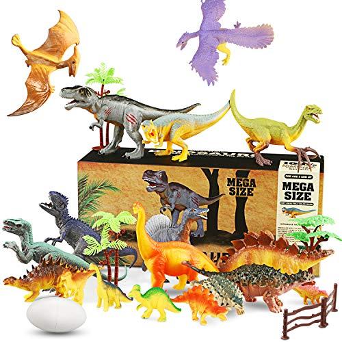 WOSTOO Juego de Dinosaurios, Figura de Dinosaurio 17 Piezas Juguete Dinosaurio & 1 Piezas Huevos de Dinosaurio con 5 Plantas Regalo para Chicos Nios