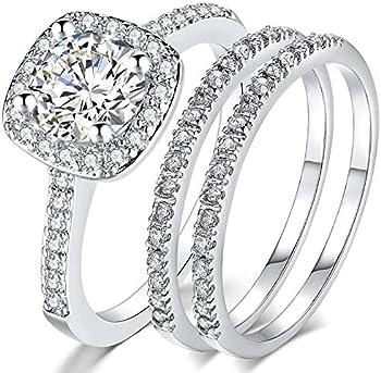 Jude Jewelers Silver Rose Gold Engagement Bridal Halo Ring Set
