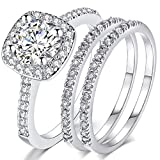 Silver Rose Gold Three-in-One Wedding Engagement Bridal Halo Ring Set (Silver, 8)