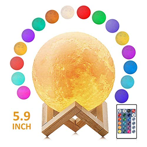 Moon Light 5.9 inch Diameter Moon Lamp 3D Printing with Stand,Touch Control and Remote Control with LED 16 Colors