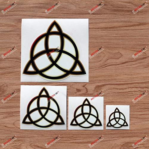 Pagan Triquetra Celtic Trinity Knot Symbol Vinyl Decal Sticker Black Gold Border - 4 Pack Glossy, 2 Inches, 3 Inches, 4 Inches, 6 Inches - for Car Boat Laptop Cup Phone