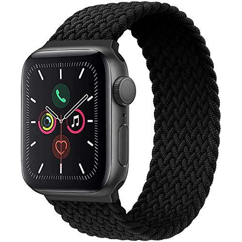 Wiselead Geflochtenes Solo Loop Kompatibel mit Apple Watch Armband 42mm 44mm, Sport Elastic Band für iWatch Serie 6/5/4/3/2/1/SE, 42mm/44mm Darkschwarz Nr.09 (178mm-185mm Handgelenk)