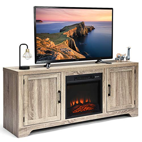 Tangkula 65' TV Stand, Storage Cabinet Console, Television Console, Media Component TV Stand with Adjustable Shelves. Suitable for 18' x 17' Fireplace (not Included) (Grey)