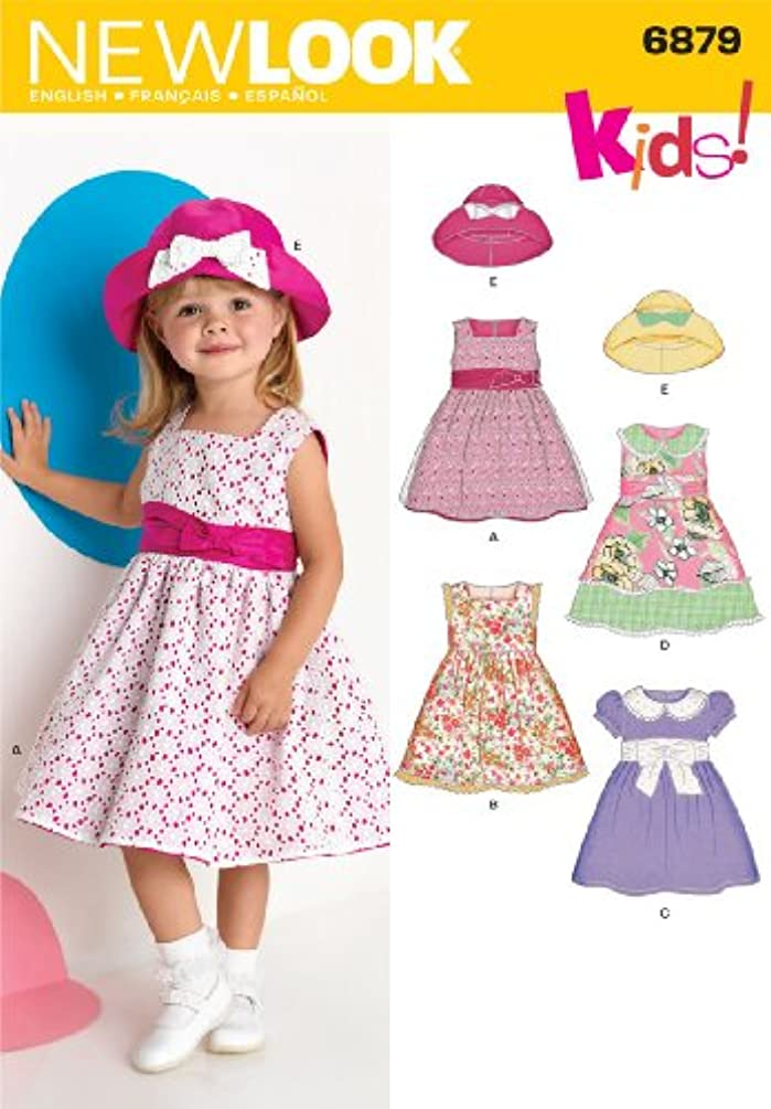 New Look Sewing Pattern 6879 Toddler Dresses, Size A (1/2-1-2-3-4)