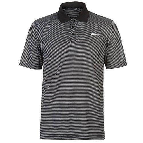 Slazenger Herren Golf Polo Shirt Gestreift Kurzarm Schwarz L