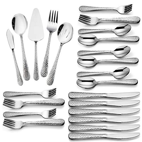 Hammered 65-Piece Silverware Serving Set, HaWare Stainless Steel Flatware Cutlery Utensils for 12, Elegant & Retro Design for Home/Hotel/Restaurant, Dishwasher Safe