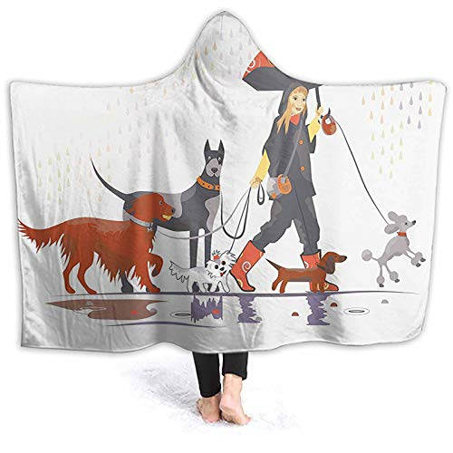 Hooded Blanket Throw Young Modern Girl Taking Pack Walk in The Rain Fun Blanket Poncho Thingy Keep You Warm and Cozy 50 x 40 Inch