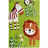 Delindo Lifestyle Babydecke CUTE ANIMALS - flauschig weiche Kuscheldecke - Krabbeldecke 75x100 cm - grün für Jungen