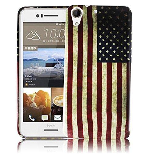 thematys Passend für HTC Desire 728G USA Vintage Silikon Silikon Schutz-Hülle weiche Tasche Cover Case Bumper Etui Flip Smartphone Handy Backcover Schutzhülle Handyhülle