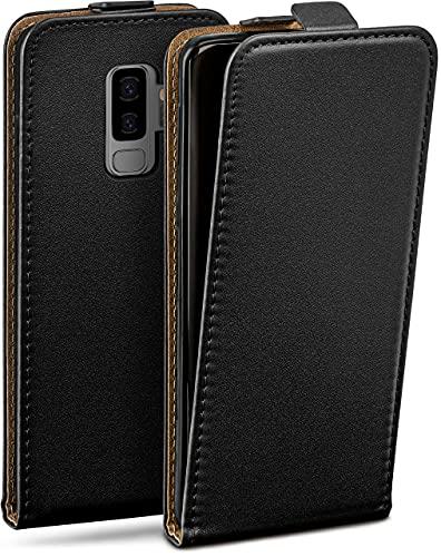 moex Flip Hülle für Samsung Galaxy S9 Plus - Hülle klappbar, 360 Grad Klapphülle aus Vegan Leder, Handytasche mit vertikaler Klappe, magnetisch - Schwarz