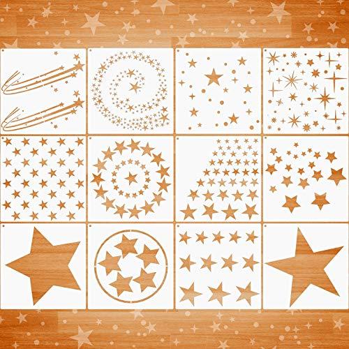12 Stücke Stern Schablone Set Verschiedene Stern Muster Schablonen Wiederverwendbar Funkeln Stern Vorlage in Verschiedenen Größen und Stilen mit Metall Öffnen Ring zum Malen