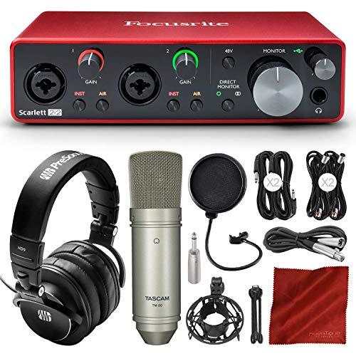 Focusrite Scarlett 2i2 2-in 2-out USB Recording Audio Interface (3rd Gen) + Tascam TM-80 Studio Condenser Microphone, PreSonus HD9 Professional Headphones, Xpix Pop Filter & Professional Accessories