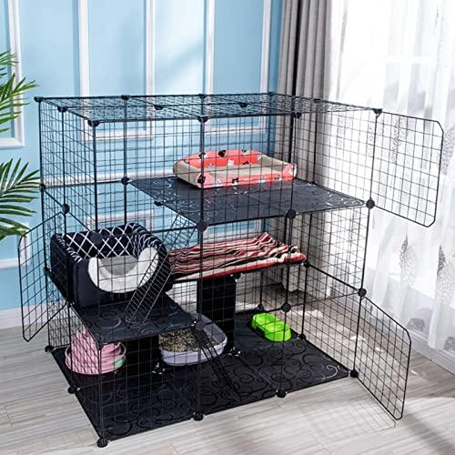 WENHU Pet Cat Casa Casa Ferro Ferro Play Playpen Indoor Letto a Pelo per Aspirazione Living Room Pieghevole Fai da Te Gattino Gatti Gabbia Piccola Cani Cucciolo,1