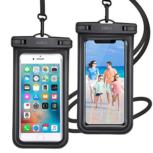 2枚セット& Face ID認証/指紋認証対応 防水ケース スマホ用 IPX8認定 完全保護 防水携帯ケース 完全防水 タッチ可 顔認証 気密性 iPhone11/iPhoneXR/X/Android 6.5インチ以下全機種対応 防水カバー 水中撮影 お風呂 海水浴 水泳など適用 (ブラック)