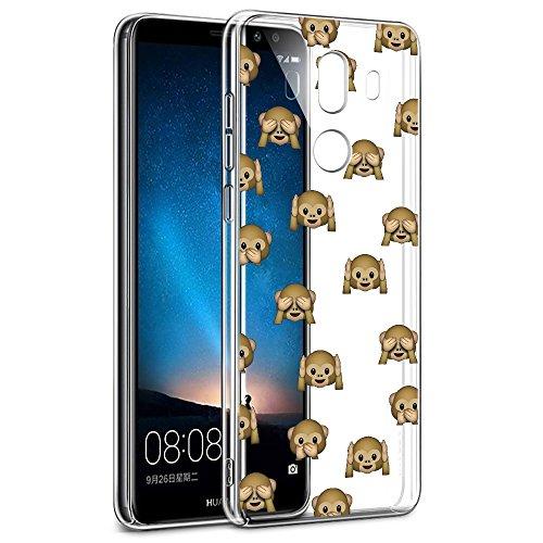 Eouine Cover Huawei Mate 10 PRO, Ultra Slim Protective Cover Trasparente con Disegni, Morbido Antiurto 3D Cartoon Gel Bumper Case Custodia in TPU Silicone per Huawei Mate 10 PRO (Scimmia)
