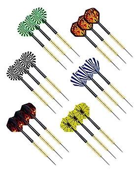 CIKKUE Steel Tip Darts 18 Pack Premium Professional Dartboard Darts Metal Tip Set with 4 Extra Flights Flight Protectors Tools