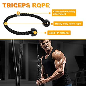 KMM Cable Machine Attachments Fitness Machine Accessories 4-Piece Set - Triceps Rope Pull Down Attachment + V-Shaped Handle + Straight Bar + Ankle Straps + Carabiner Clips for Home Gym Workout (Black)