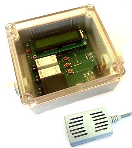 Hygrostat Feuchtraum Lüftersteuerung Feuchtraumlüftersteuerung Entfeuchter Heizung Steuerung IP65 Gehäuse LCD programmierbar incl. Temperaturfühler und Feuchtigkeitssensor (jetzt mit genauerem DHT-22 Sensor)