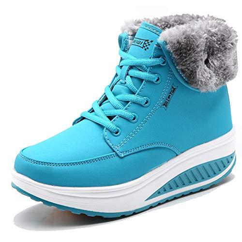 CAGAYA Damen Winterschuhe Warm Gefüttert Schneestiefel Fitness Keile Plattform Schuhe Outdoor Sneaker Stiefel (36, Blau)
