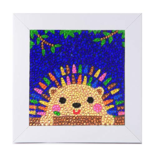 400 magic HelloDpx Small and Easy DIY 5d Diamond Painting Kits Mosaic Making with White Frame for Kids New Year Gift - 6X6 inches (Hedgehog)