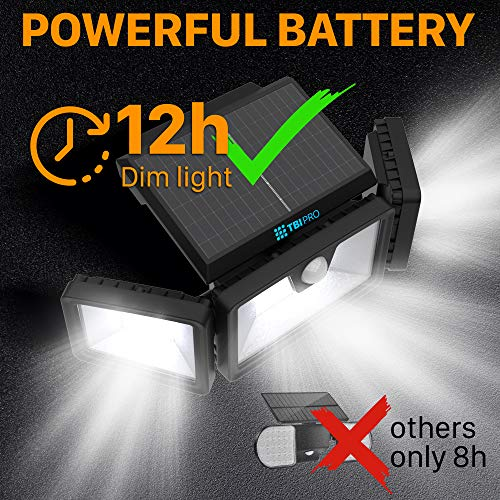 TBI Security Solar Lights Outdoor 216 LED 2200LM, 6500K - Extra-Wide Adjustable 360° 3 Heads with 3 Modes,Wireless Motion Sensor 40ft - Waterproof IP65 Spot Flood Lights Solar Powered 2200mah(2 Pack)