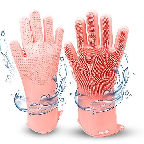 Magische Silikon Handschuhe mit Bürste, Wiederverwendbare Spülhandschuhe, Haushaltshandschuhe, Wash Scrubber, Reinigungsbürste, Magic Gloves, Handschuhe für Küche, Bad, Tierhaare, Auto waschen (Rosa)