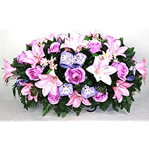 XL Easter Spring Mixture Artificial Silk Flower Cemetery Tombstone Grave Saddle