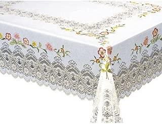 MEIWA 桌布(1件) MG印花蕾丝系列 紫红色 120cm×150cm 粉色