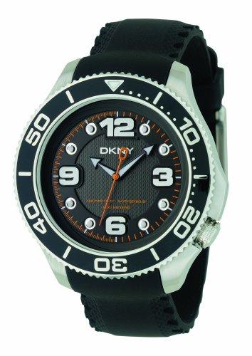 DKNY NY1364 Reloj de Correa de Goma Negra para Hombre con Esfera Negra
