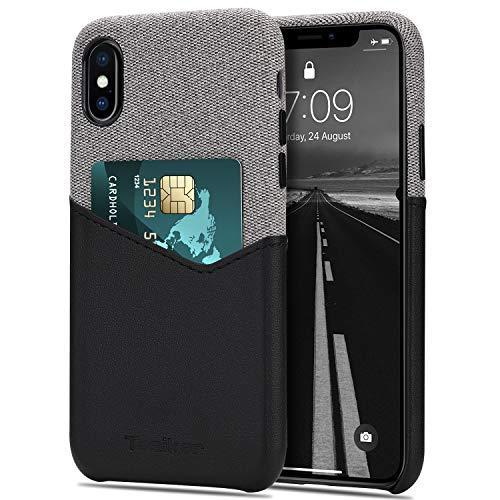 Tasikar Funda iPhone XS/Funda iPhone X Carcasa Cartera de Cuero y Tela con Tarjetero Estuche Compatible con iPhone XS y iPhone X (Negro)