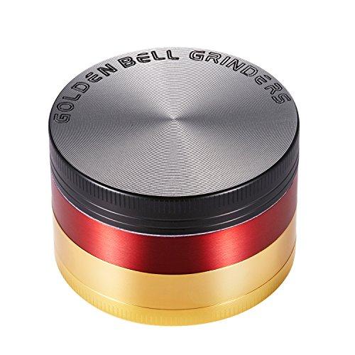 LIHAO Pollen Grinder Crusher für Spice,Kräuter,Gewürze,Herb,Kaffee 4-teiliges Set mit Pollen Scraper (Deutschland-Fahne)