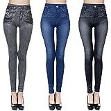 Leggings Femme l'aspect Jean Jeggings Taille Haute Pantalon Moulant Femme Mode Casual Slim Extensible Pantalon de Crayon Doux et Chaud (L/XL, Noir+Bleu+Gris)