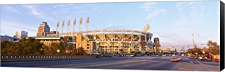 Facade of a Baseball Stadium, Jacobs Field, Cleveland, Ohio, USA by Panoramic Images Canvas Art Wall Picture, Museum Wrapped with Black Sides, 36 x 12 inches